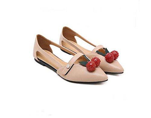 Bailarina Onfly la planos Dedo Cómodo De Tacones de Lado Cereza Encantador UE del pie las Bomba Zapatos casuales Hueco mujeres 39 Zapatos puntiagudo Gelatina Sandalias plana fresa apricot Tamaño Decoración 35 1wqrf1E