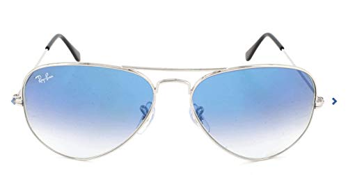 Ray-Ban RB3025 Aviator Sunglasses, Silver/Blue Gradient, 58 ()