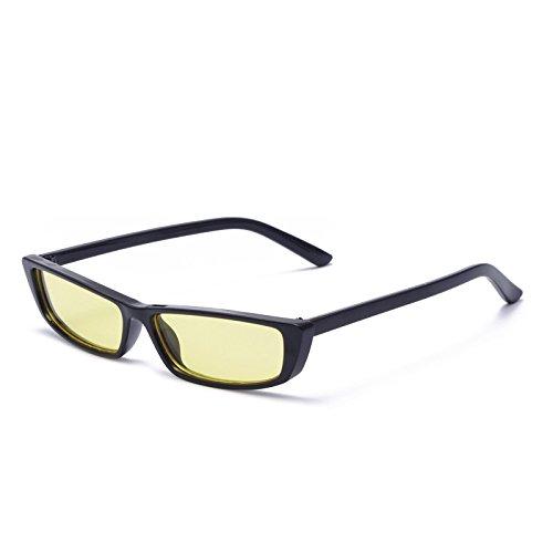 Box Couleur Lunettes Sunglasses Box Yellow Lack de Soleil américaines et Lunettes de européennes Nouvelles Soleil Black Marine Générique Black Femmes Lunettes Petites Gray RA6wpS6