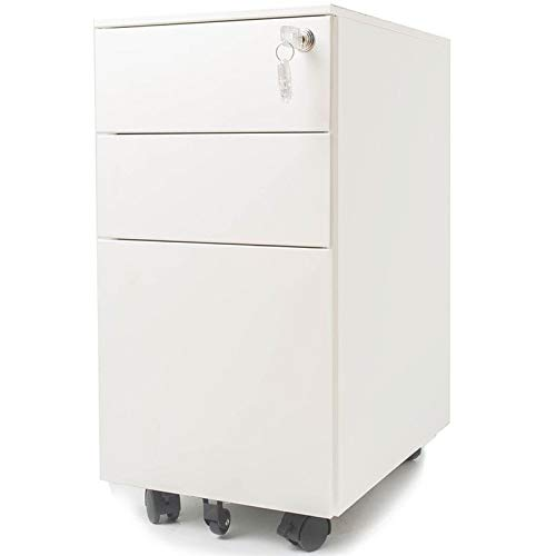 Pemberly Row 11.8'' Narrow 3 Drawer Metal Mobile File Cabinet with Lockable Drawers and Wheels in White, Letter/Legal Size by Pemberly Row