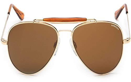 Randolph Sportsman Sunglasses Gold 23K/Skull/Glass Tan Polarized AR 57mm