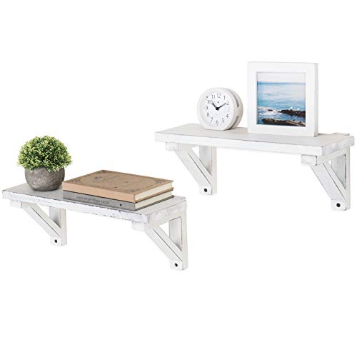 MyGift 17-Inch Vintage White Wood Wall-Mounted Shelves, Set of 2 ()