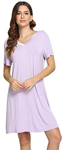 GYS Women's Short Sleeve Nightshirt V Neck Bamboo Nightgown, Small, Taro Purple
