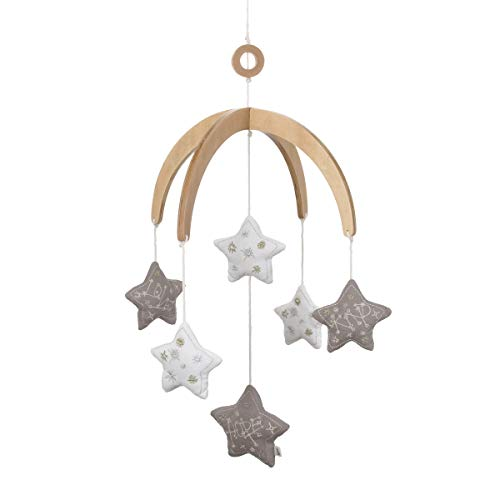 ED Ellen DeGeneres Starry Night - Nursery Ceiling Mobile with Natural Wood Arms, Grey, White Stars, Grey, Gold Embroidery, Grey, White, - Dangling Night Stars