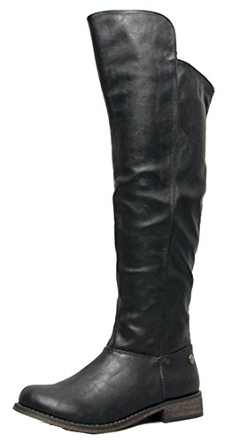 Breckelles TENESEE-17 Womens Over the Knee High Riding Boot Black 8.0
