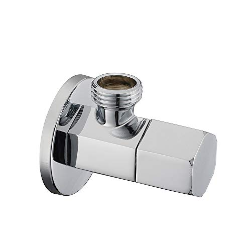 Royal H&H Modern Angle Stop Valve Quarter Turn Shut Off Water Sink Bathroom Toilet Kitchen Shower Plumbing Commercial 1/2 inch Male IPS G1/2 Hexagonal Handle Knob Solid Brass Polished Chrome