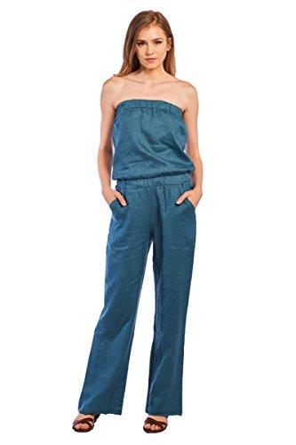 (Mariyaab Women's Strapless Full Length Casual Wide Leg 100% Linen Jumpsuit(1402, PeacockBlue, XL))