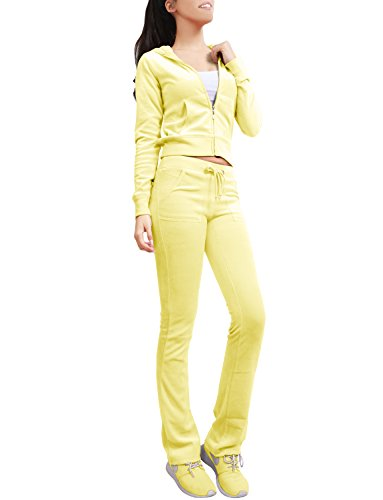 NE PEOPLE Womens Casual Basic Velour Zip Up Hoodie Sweatsuit Tracksuit Set S-3XL Yellow