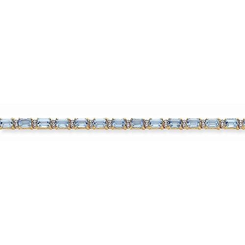 Icecarats Créatrice De Bijoux 14K Topaze Bleue Diamant Bracelet En 7 Pouces