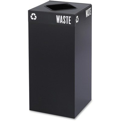 Safco 2982BL Public Square Recycling Container, Square, Steel, 31gal, Black