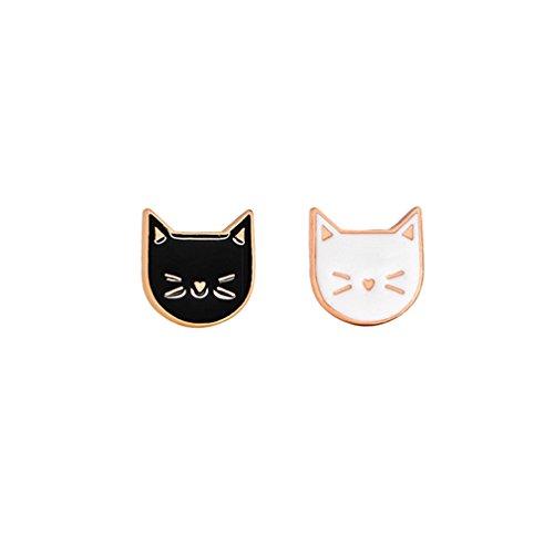 Cat Swarovski Collars (YHDBH 2 Pcs/Set Hot Cartoon Cute Cat Animal Enamel Brooch Pin Badge Decorative Jewelry Style Brooches For Women Gift)