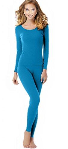 Underwear Bottoms - Women's Thermal Underwear Set Top & Bottom Fleece Lined, W1 Blue, Large