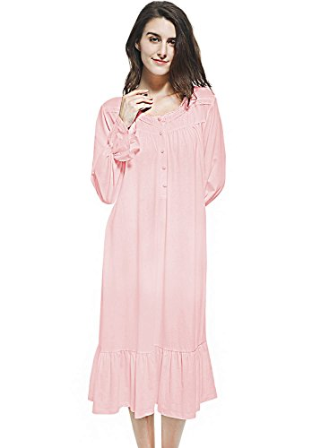 Mobisi Women's Pink Cotton Victorian Vintage Nightgown Long Sleeve Martha Lawn Ballet Sleep Shirt Dress (Large, Pink) (Henley Gown)
