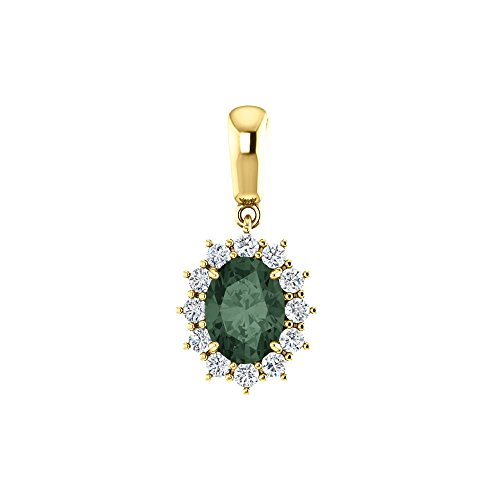 Bonyak Jewelry Lab-Created Alexandrite 14k Yellow Gold Chatham Created Alexandrite & 1/3 CTW Diamond Pendant