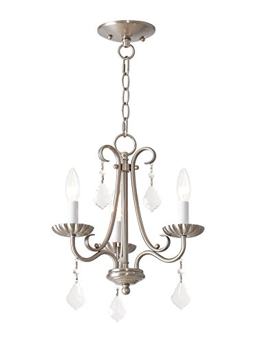 Livex Lighting 40873-91 Daphne 3 Light Brushed Nickel Mini Chandelier,