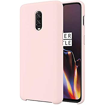 Orzero Liquid Silicone Gel Rubber Case Compatible for Oneplus 6T Full Shock Absorbing Ultra Slim Protective [Baby Skin Touch]-Pink