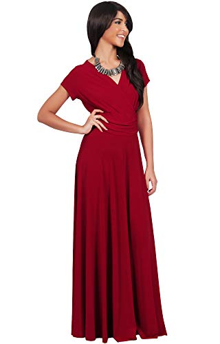 Cap Cocktail neck Flowy Short Gown V Red Sleeve Sexy KOH KOH pnqfWF4WE
