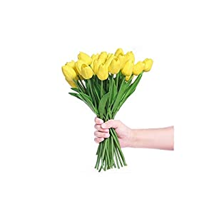 Artificial Tulips 30 Pcs Artificial Tulip Flower Real Touch Wedding Home Decoration,Yellow 107