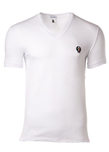 Dolce & Gabbana Men's Deep V-Neck T-Shirt White T-Shirt - Dolce & Gabbana Mens Clothing