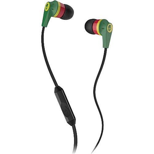 Price comparison product image Skullcandy Ink'd 2 with Mic Earphones/Earbuds Premium Headphone - Rasta / One Size