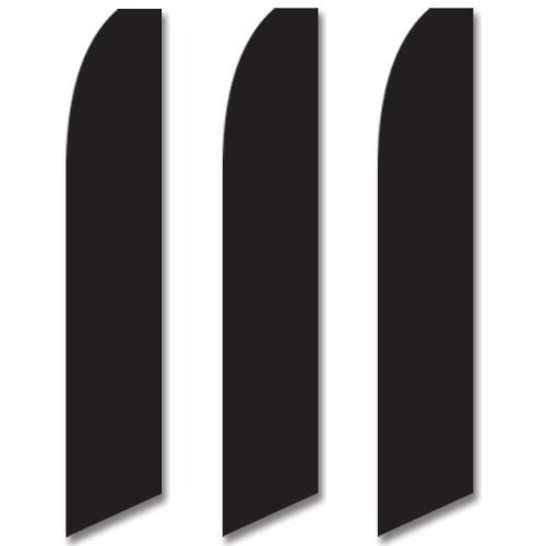 3 (three) Pack Tall Swooper Flags Black Solid Plain Color for cheap
