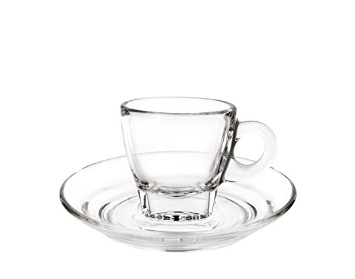 Cuisivin Caffé Collection 8700 Espresso 2.5 oz Cup and Saucer-gift box set (2 cups + 2 saucers) Drinkware Cups With Saucers, Clear