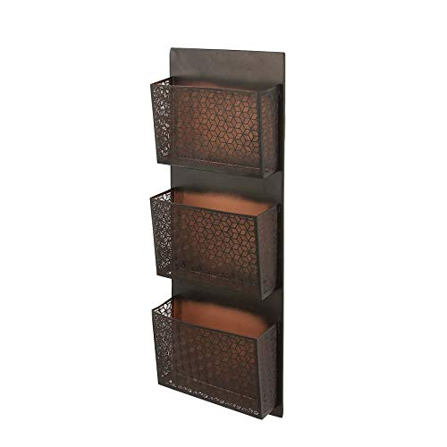 36 Inches Wall Mail Organizer 3 Pockets Wall Letter Holder Wall Mount Entryway Bills Papers Documents File Storage Shelf for Home Office Hanging Organizer Basket Traditional Style, Iron, Brown Black