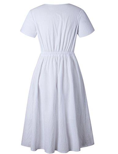 cf5683f421f MEROKEETY Women s Summer Short Sleeve V Neck Button Down Swing Midi Dress  with Pockets