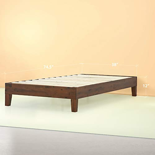 Zinus Marissa 12 Inch Deluxe Wood Platform Bed / No Box Spring Needed / Wood Slat Support / Antique Espresso Finish, Twin