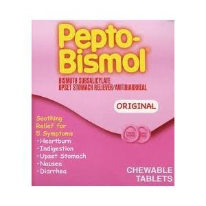 Pepto Bismol Individual Sealed 2 Tablets in a Packet (Box of 25 Packets) Total 50 Tablets