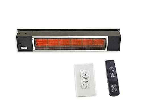 SunPak S34-B-TSR Black Patio Heater, Twin Stage (25/34KBTU) with Two Remotes