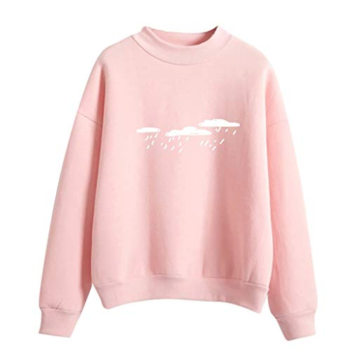- Women Fashion Long Sleeve Cloud Rain Printed Sweatshirt Blouse Tops T -Shirt