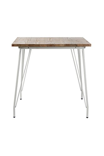 VH FURNITURE Metal Dining Table with Elm Wood Top, White - Sturdy on flat surface, strong frame and white painting ensure long time use Metal hairpin-style legs create a throwback to popular mid-century designs for a fun retro, industrial feel Accessories contained and 5-minutes assembly. Legs with floor protectors - kitchen-dining-room-furniture, kitchen-dining-room, kitchen-dining-room-tables - 31bX4y4NO6L -