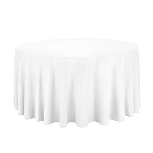 "Gee Di Moda Tablecloth - 120"" Inch Round Tablecloths for Circular Table Cover in White Washable Polyester - Great for Buffet Table, Parties, Holiday Dinner & More"