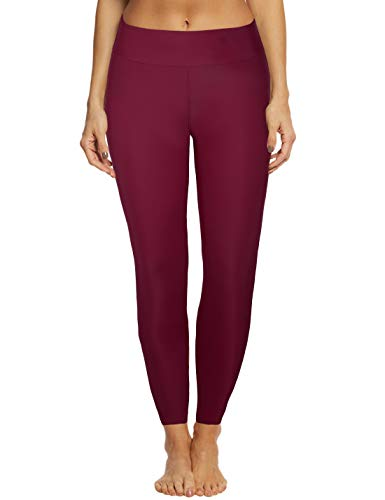 (Septangle Women's Swim Pants Capris UPF 50+ Water Outdoor Sport Leggings (18W, Wine Red#1))