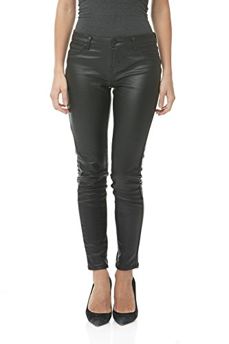 Suko Womens Ponte Leggings -Stretchy Pleather Skinny Pants 18253 Matte Black (Skinny Leather Pants)