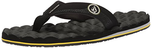 Volcom Men's Recliner Flip Flop Sandal, Sulfur Black, 12 M US