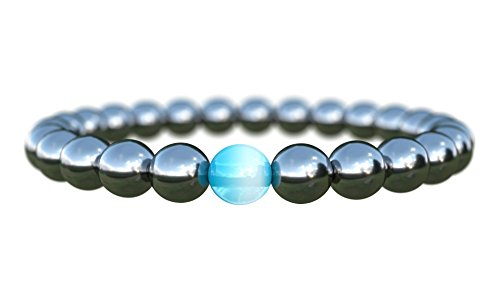 Mens Bracelet Beads Semi-Precious Hematite Natural 8mm Stones Handmade Bracelet for Men Medium 7-inch Charity by Benevolence LA