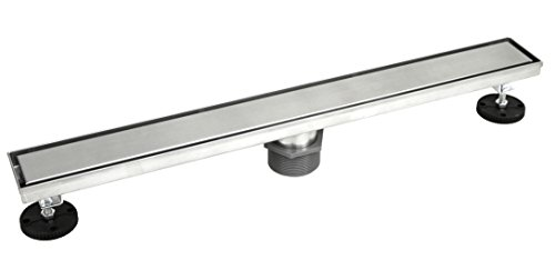 """Shower Linear Drain 2 IN 1 Reversible Tile Insert & Flat Grate - Brushed 304 Stainless Steel - with Threaded Adaptor and Adjustable Leveling Feet (36"""" Linear) -  Cbath"""