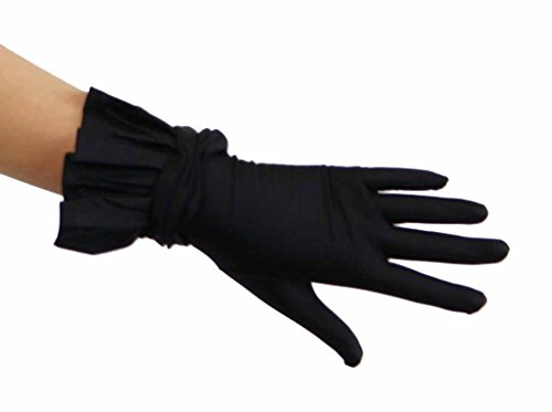 (Romeo and Juliet Stretchy Nylon Wrist Length Glove with Ruffle Glove Colors: Black)