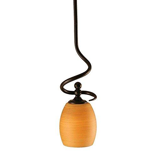 Toltec Lighting 901-DG-625 Capri Stem Mini Pendant with Hang Straight Swivel with 5″ Cayenne Linen Glass, Dark Granite Finish