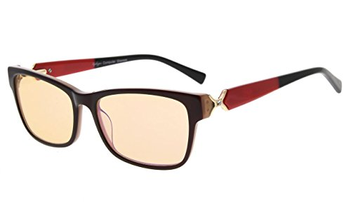 Eyekepper Amber Tinted Lens Optical-Quality Computer Eyeglasses with RX-Able Acetate Frames for Women UV & Blue Light Protection Brown ()