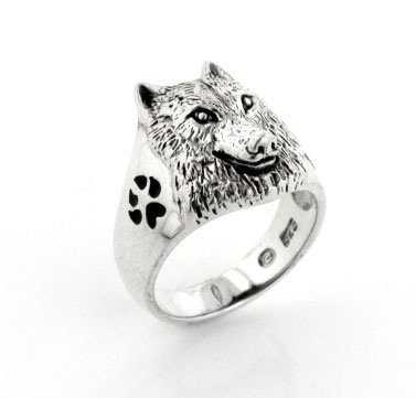 Sterling Silver Black Enamel Animal Paw, Howling Silhouette, and Wolf Head Ring