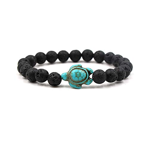 JOYID 8mm Turquoise Sea Turtles Beads Bracelet Elastic Stretch Bracelet for Women Men-Rock ()