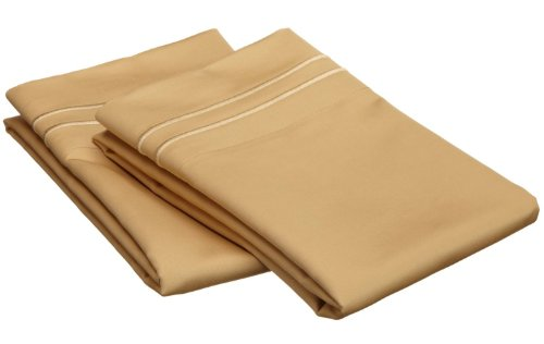 800 Thread Count, 100% Egyptian Cotton, Single Ply Pillowcase Set, King, Gold with Gold Embroidery