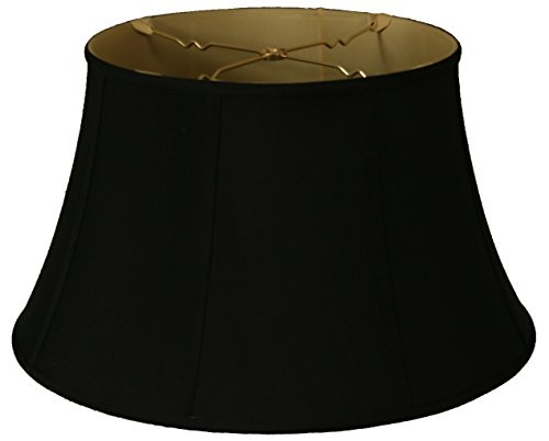 Royal Designs BS-711-17BLK Shallow Drum Bell Billiotte Lamp Shade 11 x 17 x 10, Black