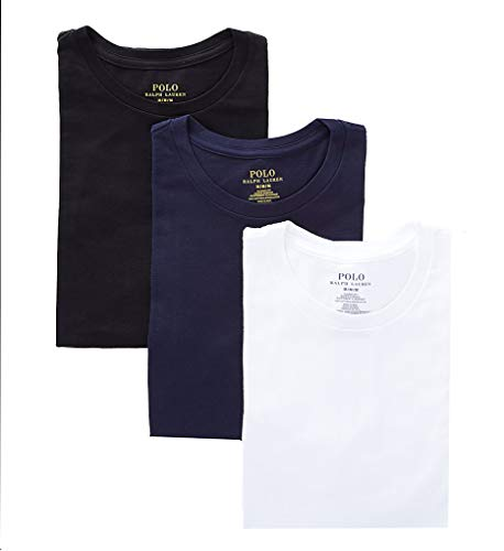 Polo Ralph Lauren Classic Fit 100% Cotton Crew T-Shirts - 3 Pack (RCCNP3) L/Navy/Black/White
