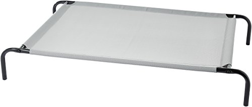 (AmazonBasics Large Elevated Cooling Pet Dog Cot Bed - 51 x 31 x 8 Inches, Grey)