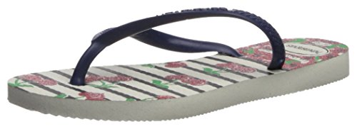 Havaianas HavaianasKids Slim Fashion Sandal, White/Navy Blue 33/34 BR/Big Kid (3/4 M - Kids White Havaianas