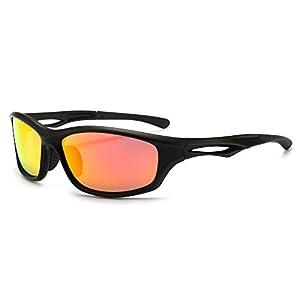 SUNGAIT Lightweight Sports Sunglasses HD Polarized Lens UV 400 Protection (Black Frame (Matte Finish)/Tangerine Mirror Lens, 64) Plastic Frame 8848 HKJUH